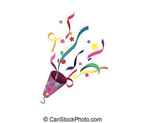 popper partie, confetti, illustration, exploser