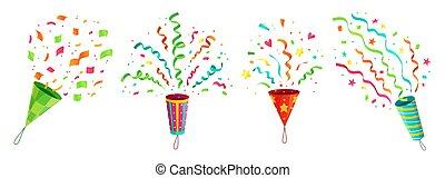 poppers, ensemble, voler, félicitations, anniversaire, vecteur, exploser, confetti, fête, célébration, rubans, dessin animé, popper.