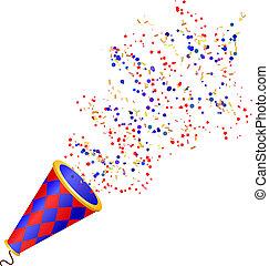 poppers, fête, isolé, wh, fullcolor, exploser, confetti