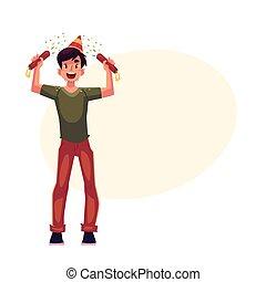 poppers, giovane, compleanno, mani, cappello festa, uomo
