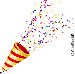 poppers, isolé, dos, fullcolor, exploser, confetti, blanc