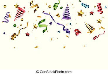 poppers, isolated., arrière-plan., anniversaire, confetti, fête