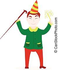 poppers, suo, giovane, mano, compleanno, uomo, cappello, felice
