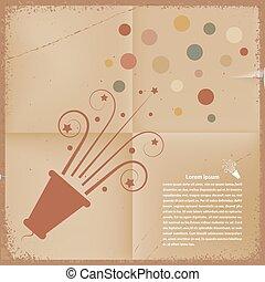 poppers, vecto, paper., arrière-plan., retro, confetti, démodé