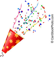 Poppers with serpentine and confetti isolated on white ...