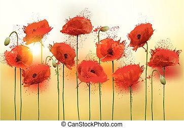 poppies., 美しさ, 自然, 背景, vector., 赤