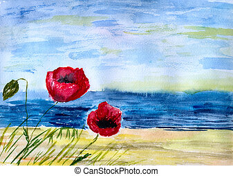 Poppies against sea - Two red poppies against ocean, in ...