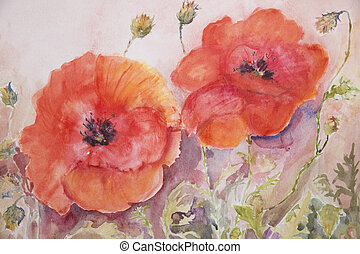 Poppies and buds. The dabbing technique near the edges gives a soft focus effect due to the altered surface roughness of the paper.