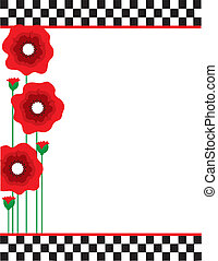 Poppies and Checks - A border or frame featuring red poppies...