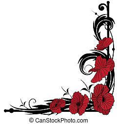 poppies  - vector background with poppies for corner design