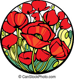 Poppies. - There are many red poppies in the circle.