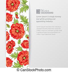 poppies., fondo, rosso