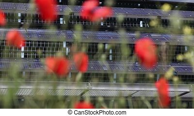 solar collector - poppies in background solar collectors