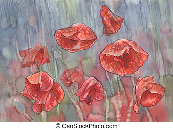 poppies in the rain watercolor
