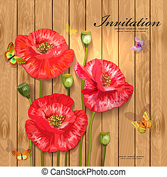 Poppies with butterflies on wood texture for your design