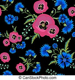 Poppies,Cornflowers 02-01 - Abstract Floral seamless pattern...