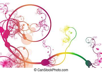 poppig, abstrakt, krümmend, linie, reben