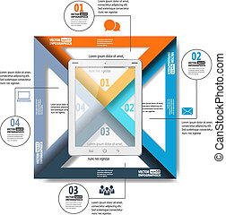 poppig, einfache , papier, infographics, mit, tablette pc, für, web, beweglich, anwendungen, sozial, netze, usw., vektor, eps10, abbildung