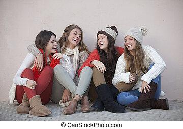 poppig, jungendliche, gruppe, glücklich