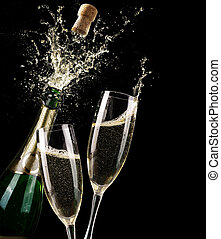Popping Champagne And Toast Of Midnight