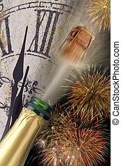 new year - popping champagne  and watch at new year