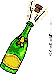 Popping Champagne Celebration Carto - Cartoon illustration...