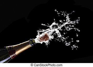 popping champagne cork - classic champagne bottle with...