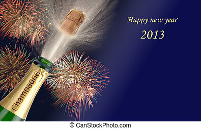 new year 2013 - popping champagne with firework at new year...
