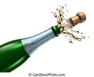 Popping the Cork - Champagne with splash popping the cork...
