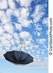 poppins, 黒, umbrella., 飛ぶ, overturn, mary, 傘, sky.