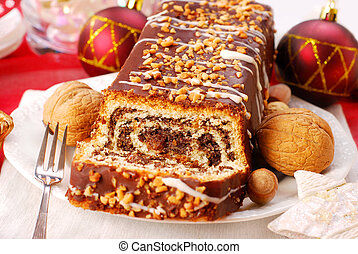 poppy cake with nuts for christmas