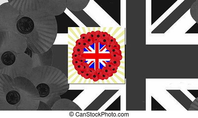 poppy day - animated poppy day with poppies and union jack