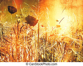 Vintage poppy field - digitally processed photo with retro oil painting look - grunge design.