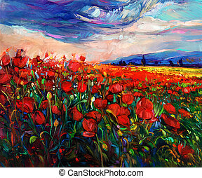 Original oil painting of Opium poppy( Papaver somniferum) field in front of beautiful sunset on canvas. Modern Impressionism
