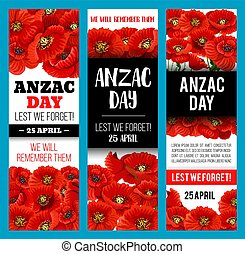 Poppy flower banner for Anzac Remembrance Day