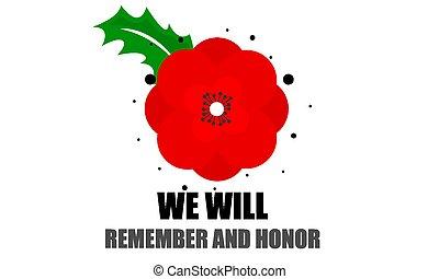 poppy flower for memorial day WE WILL REMEMBER