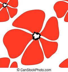 Poppy flower seamless pattern.