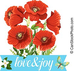 Poppy flowers bouquet vector spring floral icon