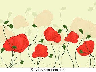 Poppy flowers, Floral background with poppies - Vector Illustration