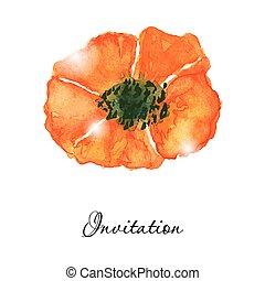 Poppy flowers. Greeting or invitation vector card. Hand drawn aquarel illustration.