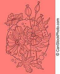 Poppy flowers hand drawn vector illustration