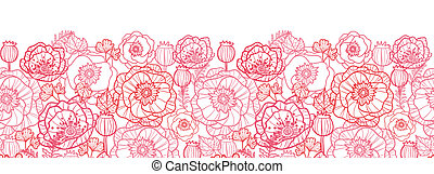 Poppy flowers line art horizontal seamless pattern border -...