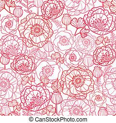 Poppy flowers line art seamless pattern background - Vector...