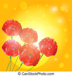 Poppy flowers on background of sunset. Vector EPS10.
