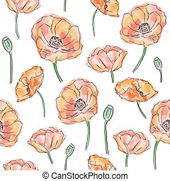 Poppy flowers seamless pattern