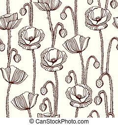 Poppy flowers vector seamless pattern