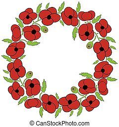 Poppy flowers wreath with leaves and vary poppy seeds flowers