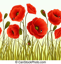 Poppy grass seamless wallpaper - Red romantic poppy flowers ...