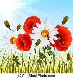 Poppy grass seamless wallpaper - Red romantic poppy flowers...