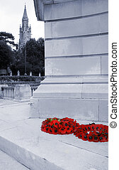 poppies on graveyard remembrance of world war soldiers that are dead. red poppy sign of fallen english soldier